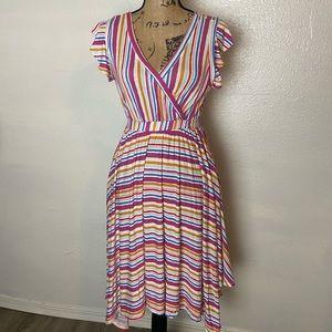 ModCloth Striped Asymmetrical Midi Dress